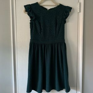 Xhilaration Emerald Green Lace Brocade Dress